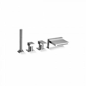 4-håls badkarblandare med vattenfallspip Tillverkad i Italien - Panela