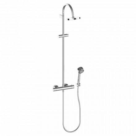 Duschpelare med duschhuvud och handdusch i förkromad mässing, hög kvalitet - Zanio