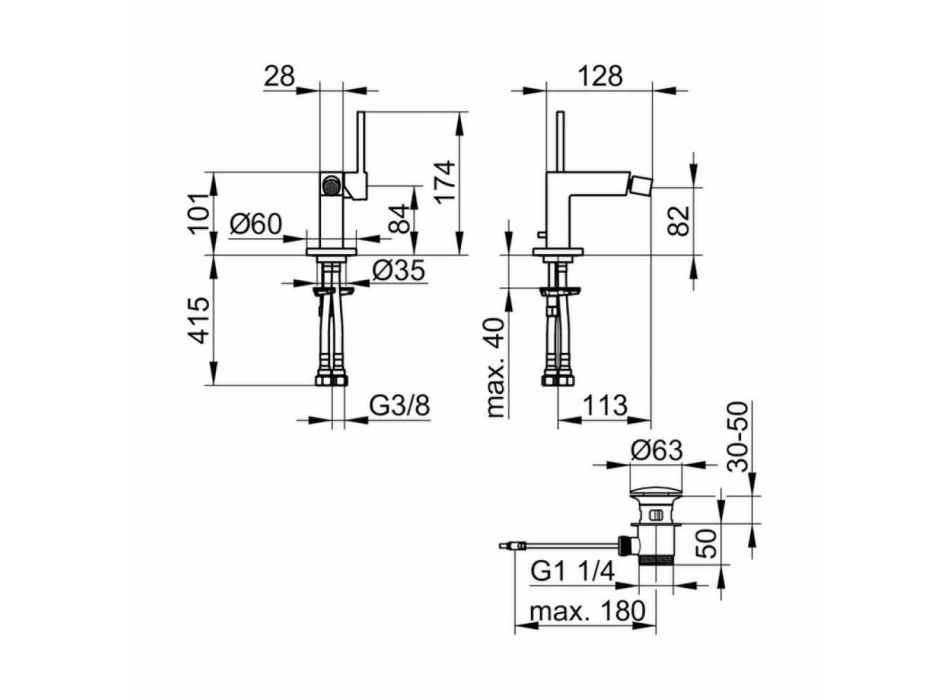 Bidet-mixer i modern design i kromad metall - Girino