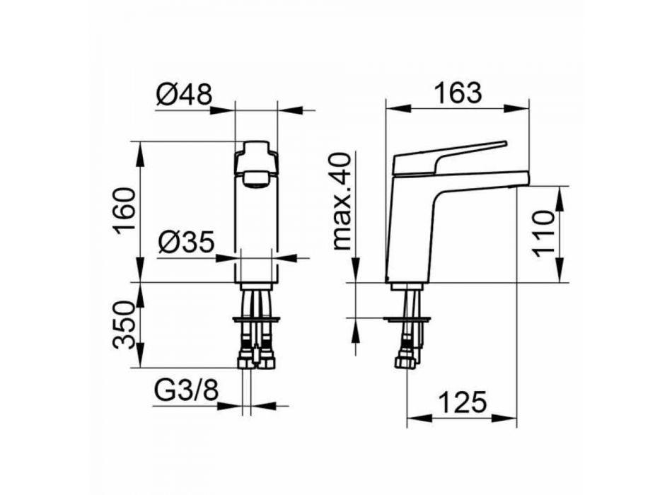 Modern 1-grepps tvättställsblandare i förkromad metall - Clari