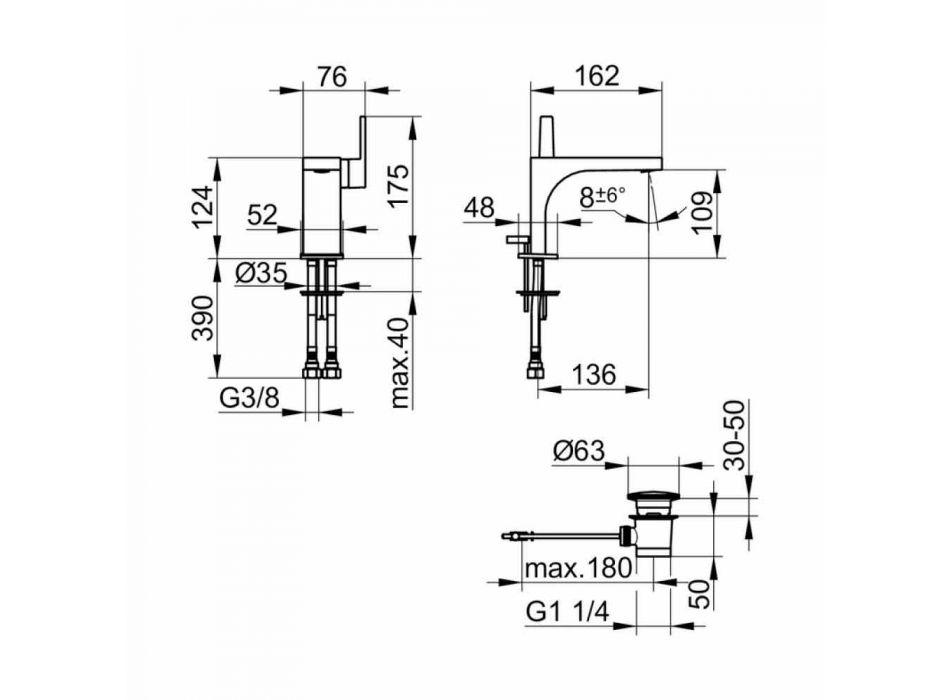 Modern 1-grepps tvättställsblandare med metallavlopp - Etto