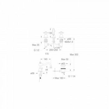 3-håls tvättställsblandare 130 mm hög i mässing Tillverkad i Italien - Binsu