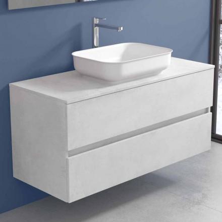 Upphängda badrumsmöbler med handfat, design i 4 ytor - Paoletto