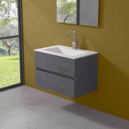 Upphängningsskåp för badrum med integrerat tvättställ i 3 dimensioner - Marione
