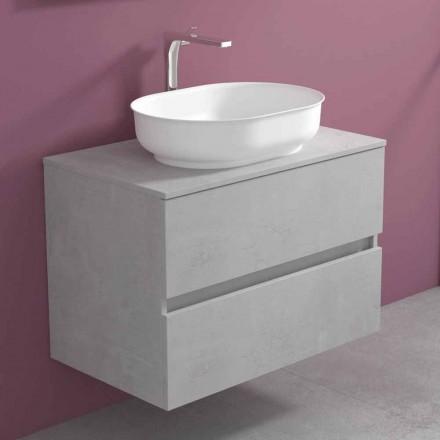 Upphängda badrumsmöbler och ovalt handfat, modern design - Cesiro