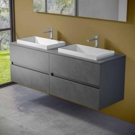 Upphängda badrumsmöbler med dubbelt inbyggt handfat, modern design - Dumbo