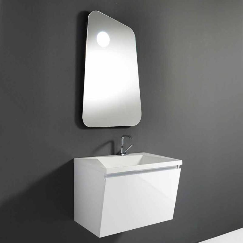Badrumsskåp med handfat och spegel, modern design i vitt trä och harts - Fausta