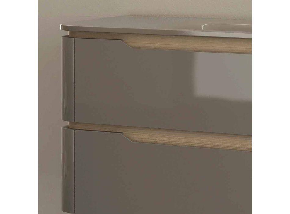 Badrumsskåp med integrerad design träfack Arya, tillverkad i Italien