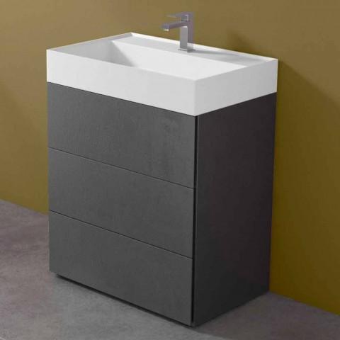 Badrumsskåp i modern design i laminat med tvättställ med harts - Pompei