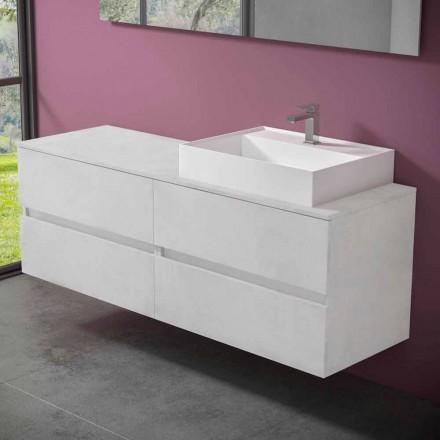 Upphängt badrumsskåp med bänkskiva i designharts - Alchimeo