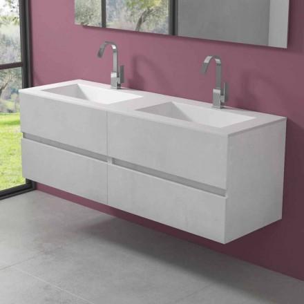 Dubbel tvättställsskåp, modern design hängande i fyra ytor - dubblett
