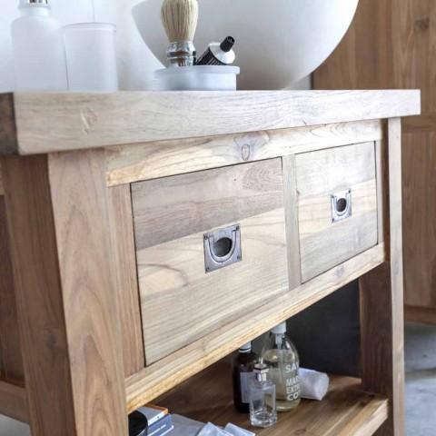 Badrumsskåp i naturligt teak med 2 lådor - Faetano