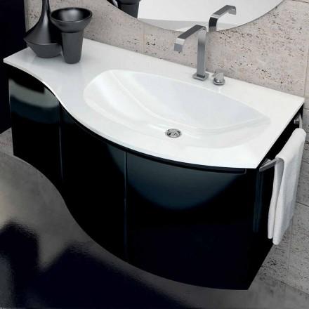 Modernt badrumsskåp med tre dörrar handfat i Gioia svart lackerat trä