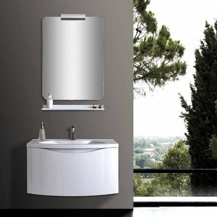 Vit modern upphängd badrumsskåp med handfat, hylla, LED-spegel - Michele