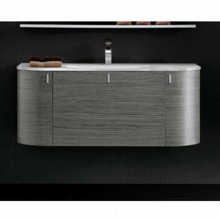 Hängande badrumsskåp med 1cestone + 2ante handfat i Happy Oak