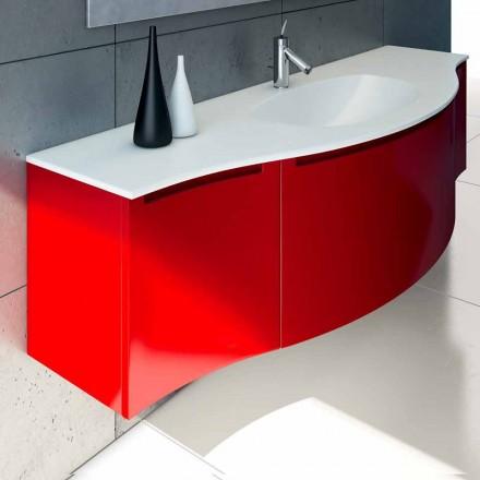 Upphängt badrumsskåp med integrerad diskbänk, 1cestone + 2ante Gioia