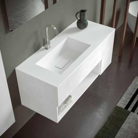 Upphängt badrumsskåp och integrerat handfat, modern design i fyra ytor - Pistillo