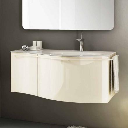 Modernt hängande badrumsskåp med handfat i beige lackerat trä Gioia 1