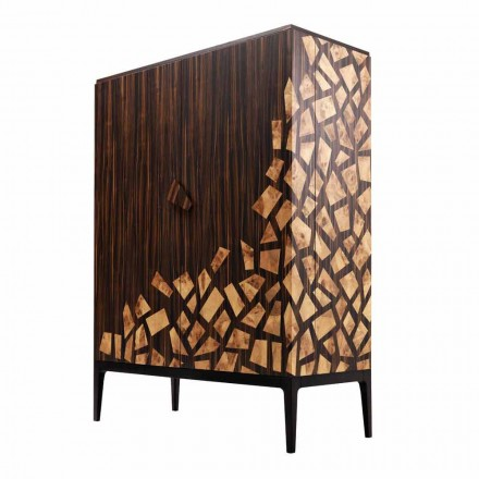 Grilli Zarafa 2-dörr design bar skåp gjord i Italien i ebenholts trä