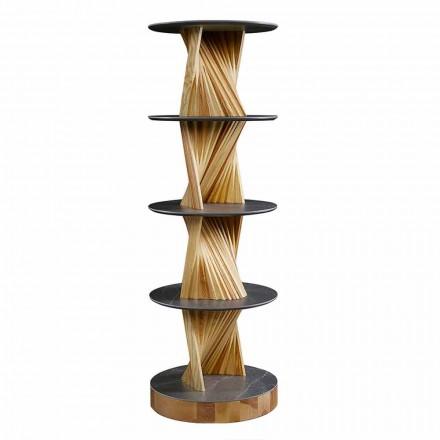 Lyxigt träskåp med runda hyllor i stengods Tillverkad i Italien - Aspide