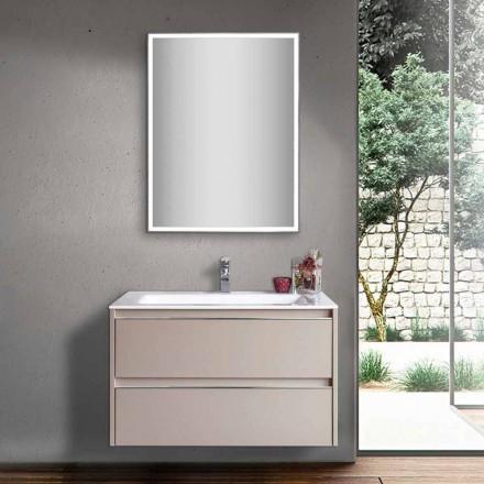 Duvgrå badrumsfat i trä och mineralmarmor med LED-spegel - Alfonso
