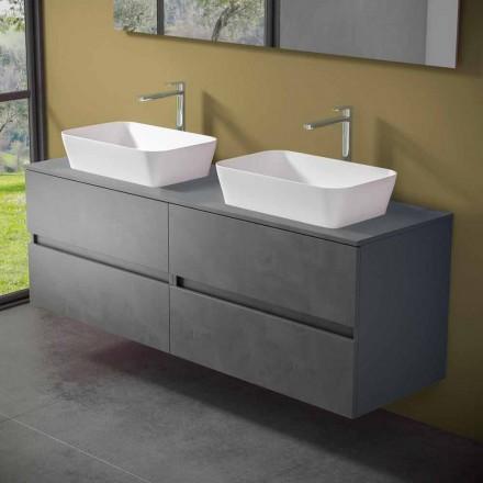 Upphängt badrumsskåp med dubbelt handfat - Mandrillo