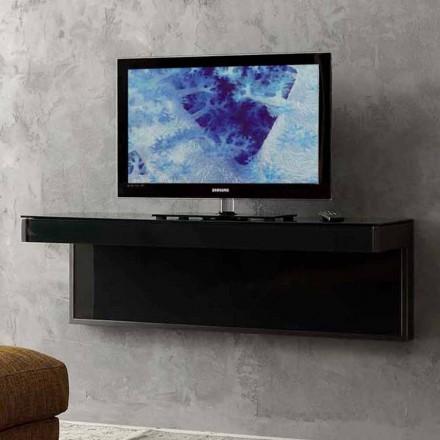 Vägg-TV-skåp i svart kristall och metall Tillverkad i Italien - Americio