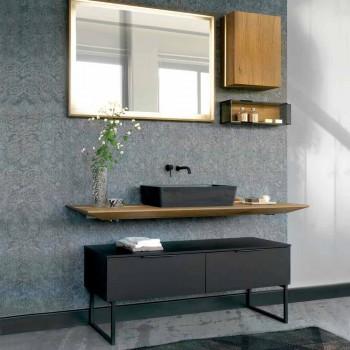 Lyxiga badrumsmöbler i modern design i naturligt trä och svart - Alide