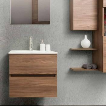 Hängande design badrumsmöbler i Melamine Walnut - Becky