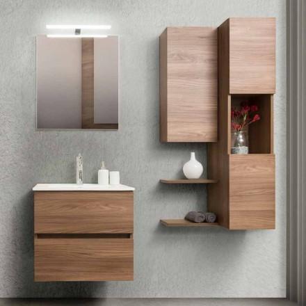 Badrumsskåp 60 cm, spegel, tvättställ och kolonn - Becky