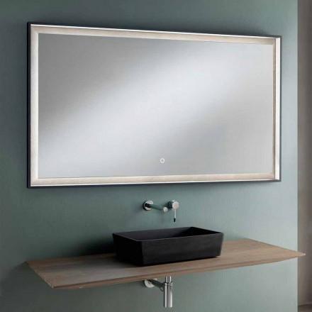 Hängande badrumsmöbler Design Trätopp, tvättställ och spegel - tonal