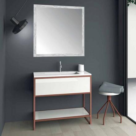 Markerade badrumsmöbler i kopparmetall och vit Mdf tillverkad i Italien - Cizco