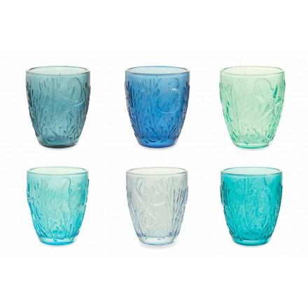 Moderna blåfärgade glasögon 12 delar vattenservice - Mazara