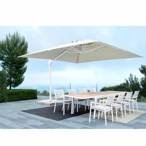 3x3 utomhusparaply i vit aluminium och polyester - Fasma