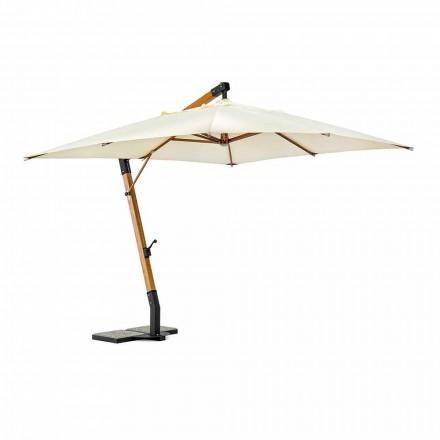 Utomhusparaply i trä och Ecru 3x4 polyester, Homemotion - Passmore