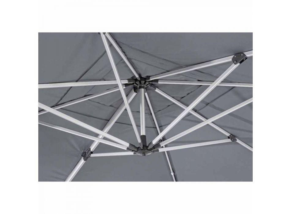 4x4 trädgårdsparaply med mörkgrå duk och anodiserad struktur - Daniel