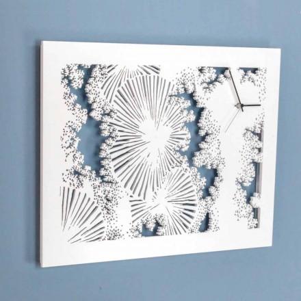 Designväggklocka i vitt trä eller rektangulär duva - Artificio