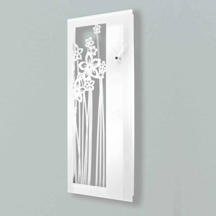 Väggklocka för modern rektangulär design i vitt plexiglas - Elara