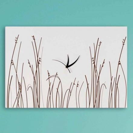 Rektangulär modern design Vitt träväggklocka - filigran