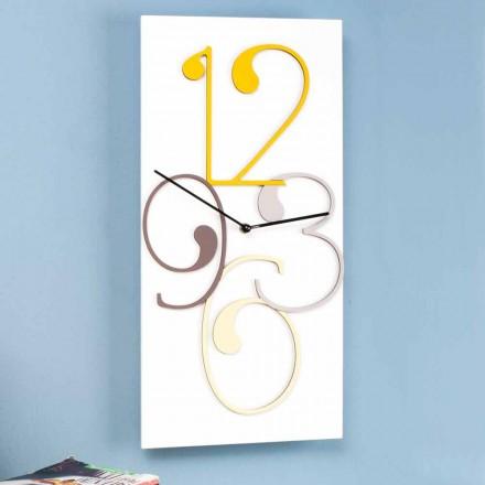 Väggklocka färgad och vit trä rektangulär modern design - matematik