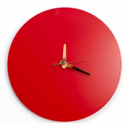 Röd väggklocka med italiensk rund och modern design i trä - Callisto
