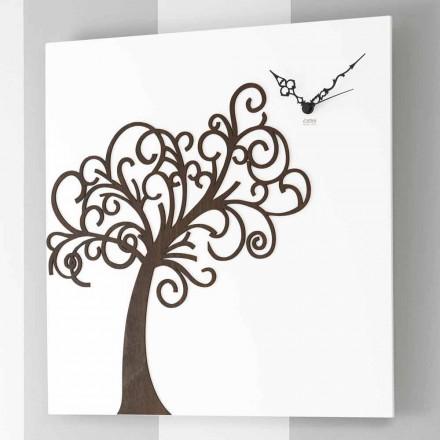 Väggklocka för vit fyrkantig trädesign med träd - Alberoeden
