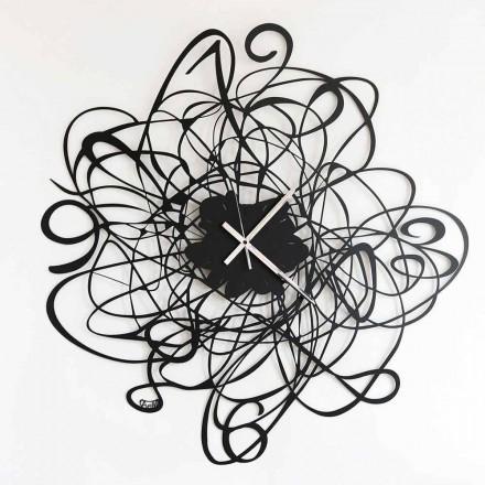 Väggklocka i modern design i svart järn eller vitt gjord i Italien - Baldo