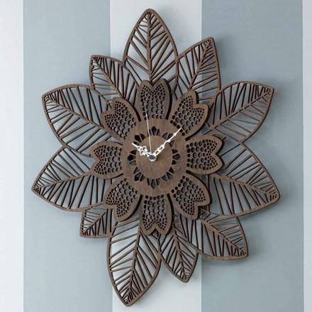 Väggklocka i ljust eller mörkt trä med modern blommadesign - Aquilegia