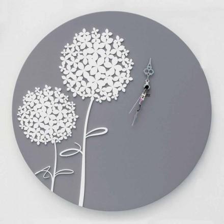 Modern design rund dekorerad grå träväggklocka - Overheaddusch
