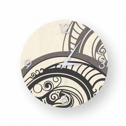 Adro abstrakt design väggklocka av trä, gjord i Italien