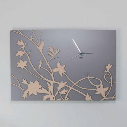 Väggklocka för modern grå rektangulär design i dekorerat trä - Gallium