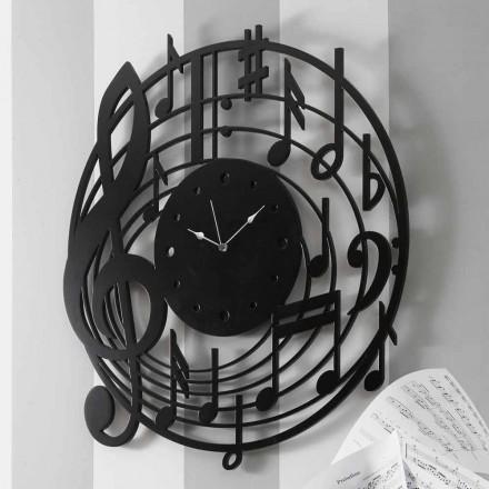 Modern design rund svart väggklocka i dekorerat trä - musik