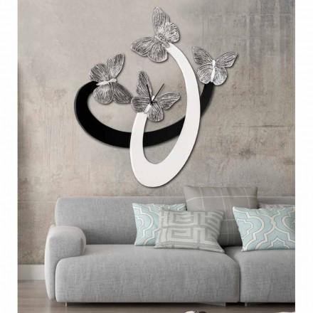 Designer väggklocka elfenben / svart handgjord i Italien Zenia