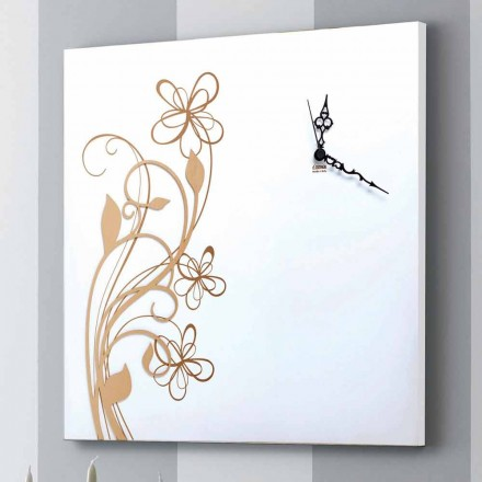 Stor fyrkantig väggklocka i vitt trä med blomman - Florello